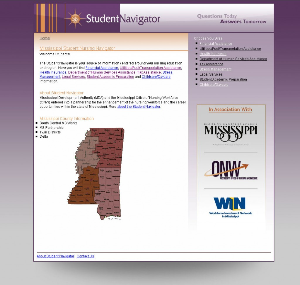 Student Navigator Website Design project for the Mississippi Office of Nursing Workforce