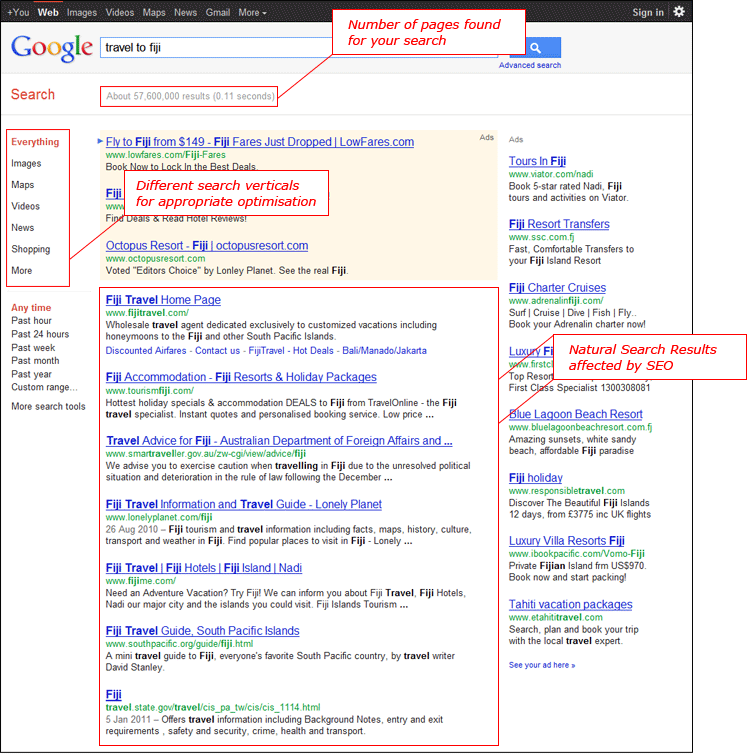 Search Engine Results Page (SERP) example