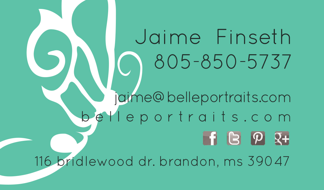 Belle Portraits Business Card Design