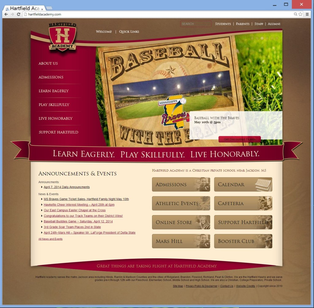 Website Design For Hartfield Academy - a Christian Private school