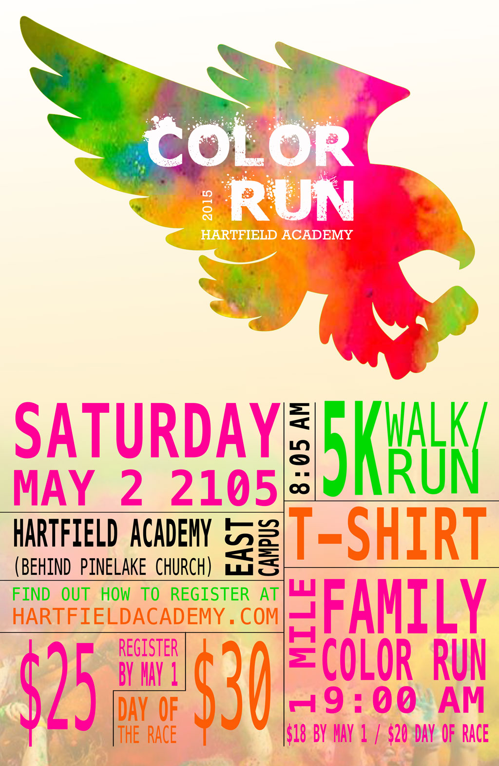 2 color poster design - Color Run Poster