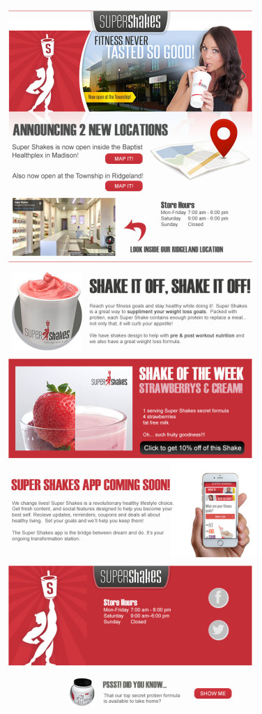 Email campaign template for healthy living product Super Shakes